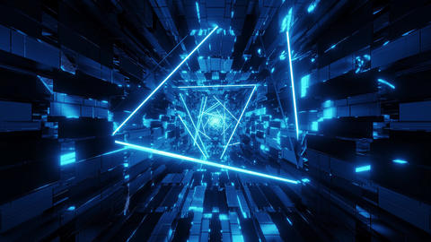 abstract glowing wireframe design graphic artworkwith technical tunnel corridor Animation