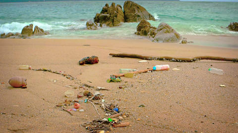 Polluted and Litter Strewn Tropical Beach Footage