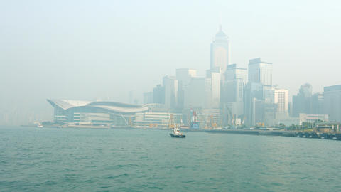 Hong Kong Convention and Exhibition Center in the Fog Footage