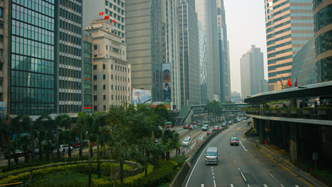 Overlooking shot of a busy. downtown commercial district of Hong Kong China. wit Footage