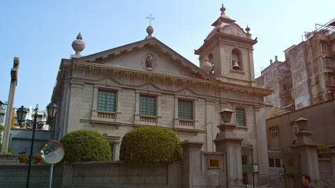 Architecture of the famous St. Anthony of Padua Church in downtown Macau Footage
