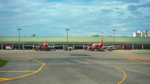 Passenger Terminal Two at Kota Kinabalu International Airport in Malaysia Live Action