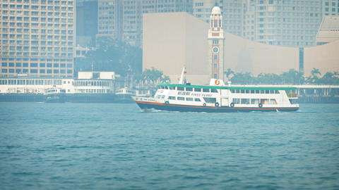 Passenger vessel from New World First Ferry Service. cruising off Hong Kong Footage
