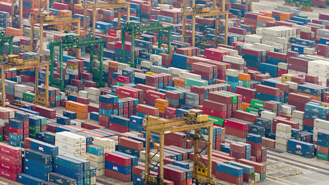 Abstract of container yard operations in timelapse. at a seaport in Singapore Footage