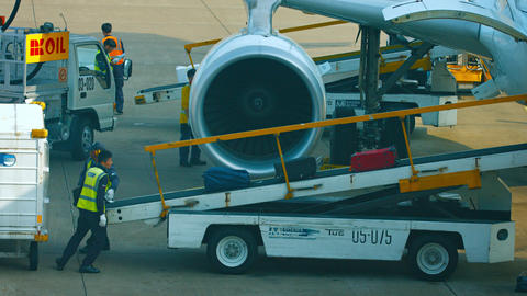 Ground support personnel unloading baggage from a commercial passenger plane Footage