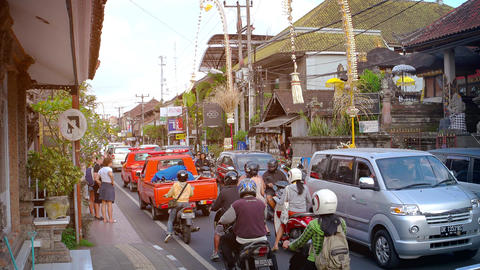 Narrow and overcrowded street in in Bali. Indonesia Footage