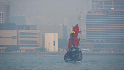 Passenger vessel. patterned after an old fashioned chinese junk. Hong Kong Footage