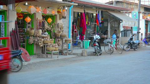 Motor tricycle passenger vehicle in Nyaung Shwe. Myanmar Live Action