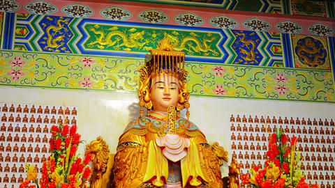 Statue of Mazu. Chinese patron godess of Fishermen and Seafarers Footage