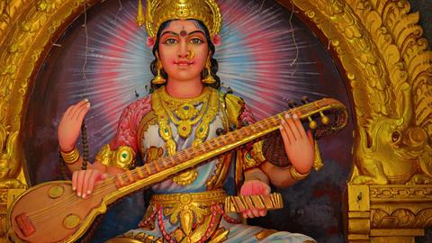 Intricately Detailed Statue of the Hindu Goddess. Saraswati Live Action