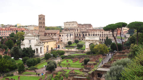 Rome with triumphal Arch and colosseum in distance Live Action