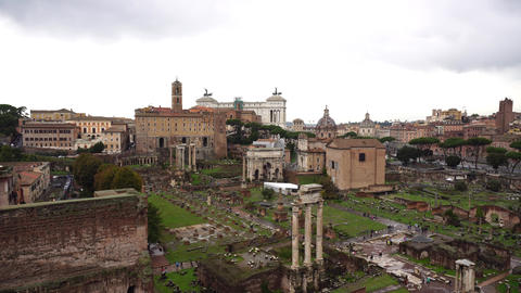 Top view of Rome with historic places Live Action