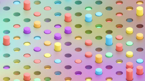 Holographic Isometric 3D Cylinders Swaying in Holes Animation