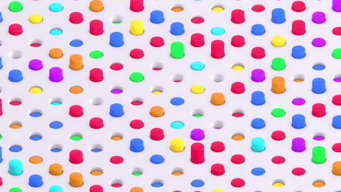 Multicolored Isometric 3D Cylinders Swaying in Round Slots Animation