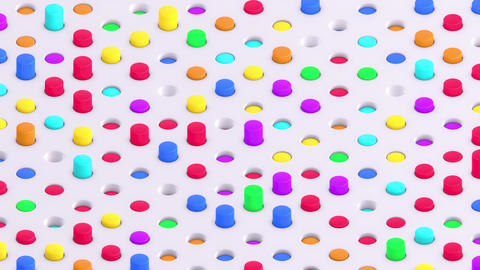Multicolored Isometric 3D Cylinders Swaying in Round Slots Stock Video Footage