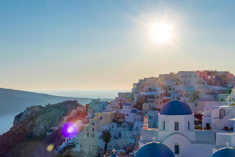 Sunny Day over the Rooftops of Oia on the Island of Thira