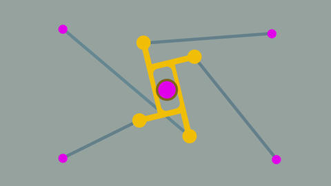 4 red Points connect with rotating shape and make kinetic movement . Loopable Conceptual Animation Animation