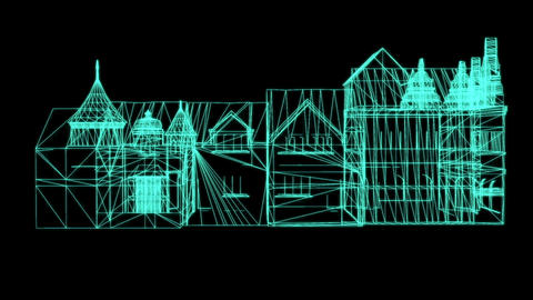 Wire Frame Model Of medieval House on black background - 3D Rendering Animation