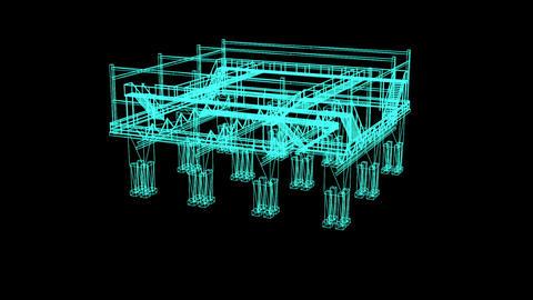 3D Rendering - Wire Frame Model Of industrial platform on black background Animation