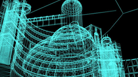 Wireframe Model Of Industrial Buildings-3D Rendering Animation
