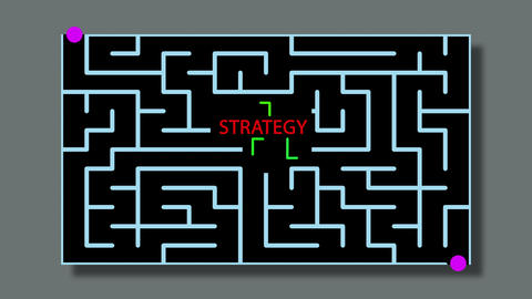 animation of Maze With red text and green lines and possible Solution -STRATEGY Animation