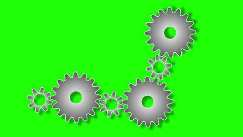 Gears rotating on green screen background. Cogwheel work or teamwork symbol Animation