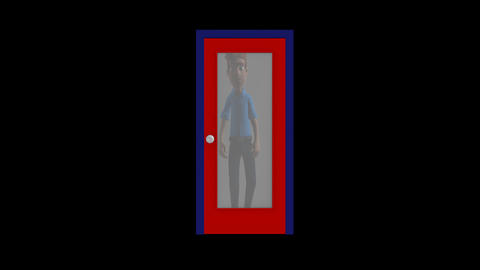 Cartoon Man Opening a Door Animation
