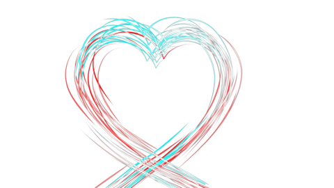The heart symbol is drawn with colored bright lines, a symbol of love and romance, movement and Animation