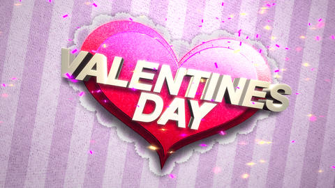 Animated closeup Valentine Day text and motion romantic heart on Valentine's day shiny background Animation