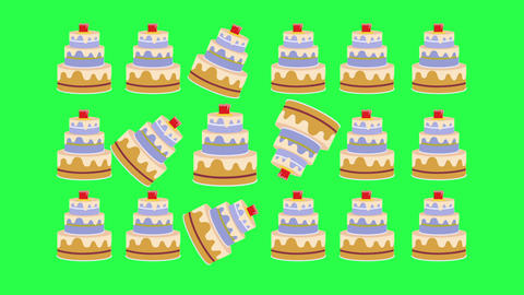 Minimal Motion Design. Cakes against a green screen-animation in 2d Animation
