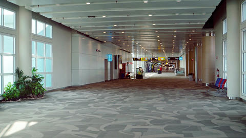 Nearly empty airport terminal Footage