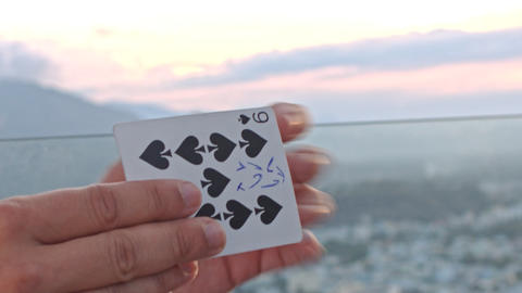 Closeup Conjurer Hands Turn Over Card with Note in Trick Footage