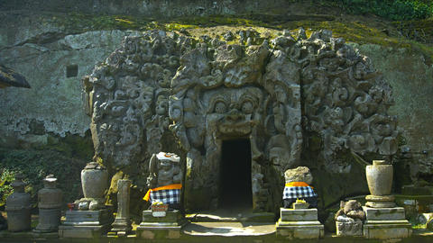 Intricately Carved Entrance to Temple Cave at Tirta Empul. Bali. Indonesia Footage