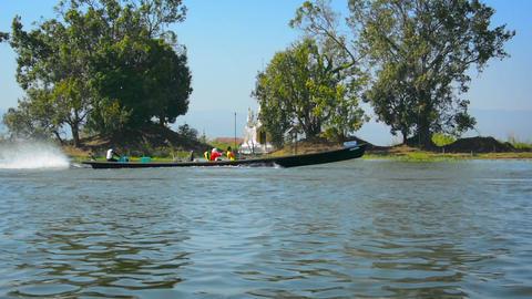 Motorized. Wooden Canoes on Inle Lake in Myanmar Footage