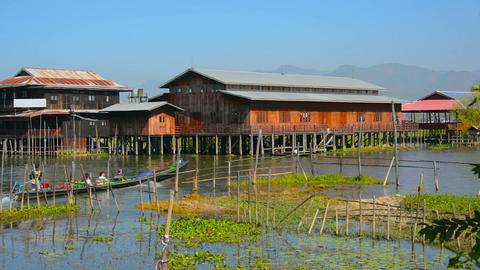 Rural Village Built over the Water of Inle Lake in Myanmar Footage
