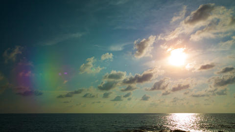 Late Afternoon Sunshine over a Flat Tropical Horizon Footage