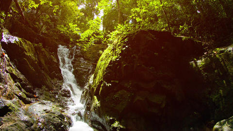 Beautiful Natural Waterfall in Tropical Wilderness. with Sound Live Action