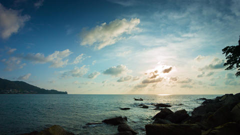 Late Afternoon Sunshine over a Rocky Tropical Beach Paradise Footage