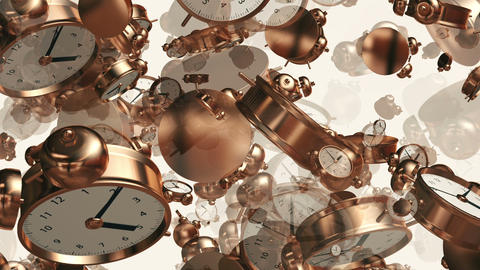 Alarm clocks in copper color on white Animation