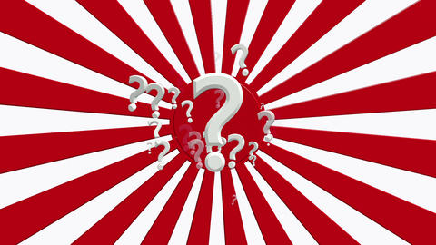 Rotating sunburst with question marks in red and white colors Animation