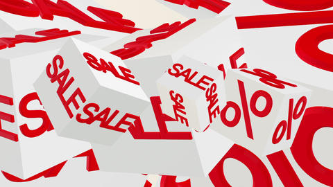 Rotating cubes with inscription sale and percents in red color Animation