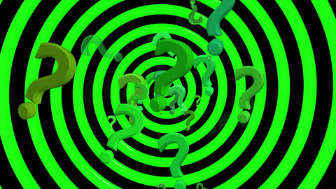 Question marks with rotating spiral in green color Animation