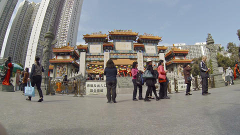 Traditional. ornamented entry arch at Wong Tai Sin Buddhist temple Footage