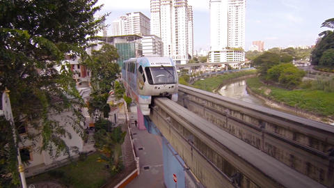 Elevated. monorail commuter train. taking a gentle curve in Kuala Lumpur Footage