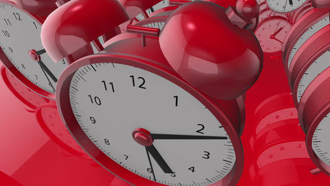 Alarm clocks in rows in red color Animation