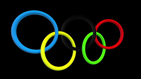 Olympic rings on black Animation