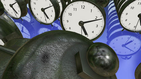 Alarm clocks in rows in metal color on blue Animation
