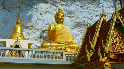 Gold Statue of the Buddha at Wat Tham Kisap Temple Footage