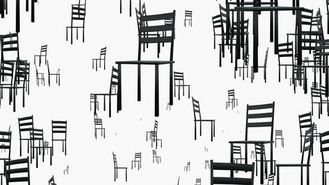 Rotating chairs in black on white Animation