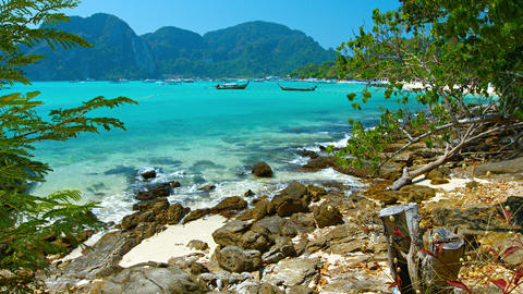 Tour Boat Traffic in the Shallow Sea near a Tropical Beach Paradise Footage